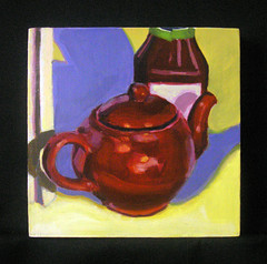 Teapot of Blood (Ashley A) Tags: red stilllife color green art kitchen yellow painting colorful acrylic panel ketchup decorative diningroom teapot bloody realism meaty stronglight ashcan visceral smallart smallpainting representational kitchensinkrealism
