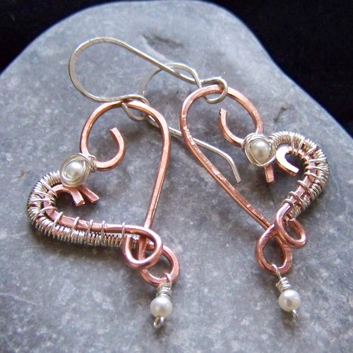 Copper, sterling and freshwater pearl earrings