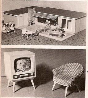 1958 Walter Hennig Bungalow, Schalensessel und TV