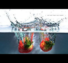 Let me take you down . . . (zhewen!) Tags: water strawberry fishtank splash strawberryfields livingiseasywitheyesclosed nothingisreal strobist yn460 zhewen