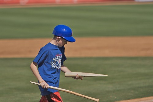 The bat boy doing his job - Cubs v. Dbacks Spring Training 2010