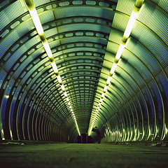 Poplar Tunnel, xpro (slimmer_jimmer) Tags: green london 120 mediumformat lights xpro crossprocessed poplar footbridge tunnel 120film dlr foottunnel yashica635 autaut