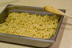 Cooked pasta into the pan