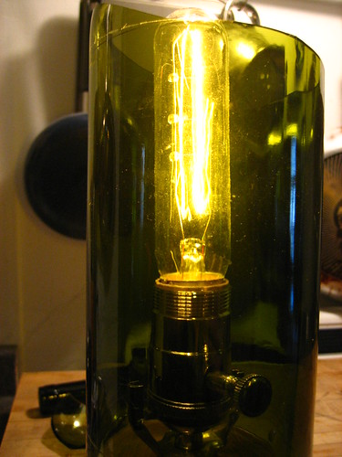 Wine Bottle lamp shade proof of concept