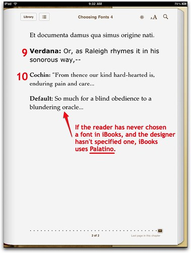 Default Font in iBooks on iPad