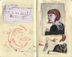 (ms. stephanie brown) Tags: selfportrait moleskine sketchbook thumbnail colorstudy cocochanel totallyinsanenotefromateacher arcadephotos