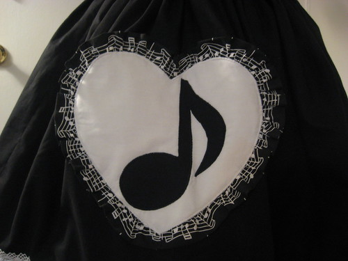 Music Note Applique Reversible Overskirt 003