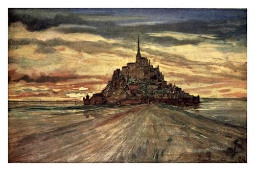 017- El monte San Michel a la puesta de sol-Normandy-1905- Ilustrado por Nico Jugman