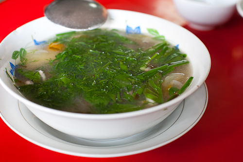 Kaeng som paa, a sour fish soup, at Khambang Lao Food Restaurant, Vientiane, Laos