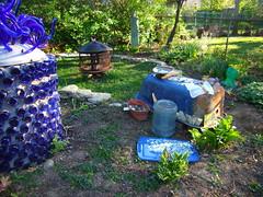 Bathtub Shrine - preparing to glue (That Car) Tags: art garden chalk bath shrine iron mosaic glue mirro cast tub grotto bathtub recycle folly silicone reuse