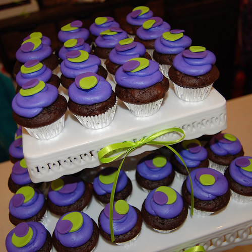 Purple and lime green sassy circle minicupcake for Urban Kidz birthday celebration