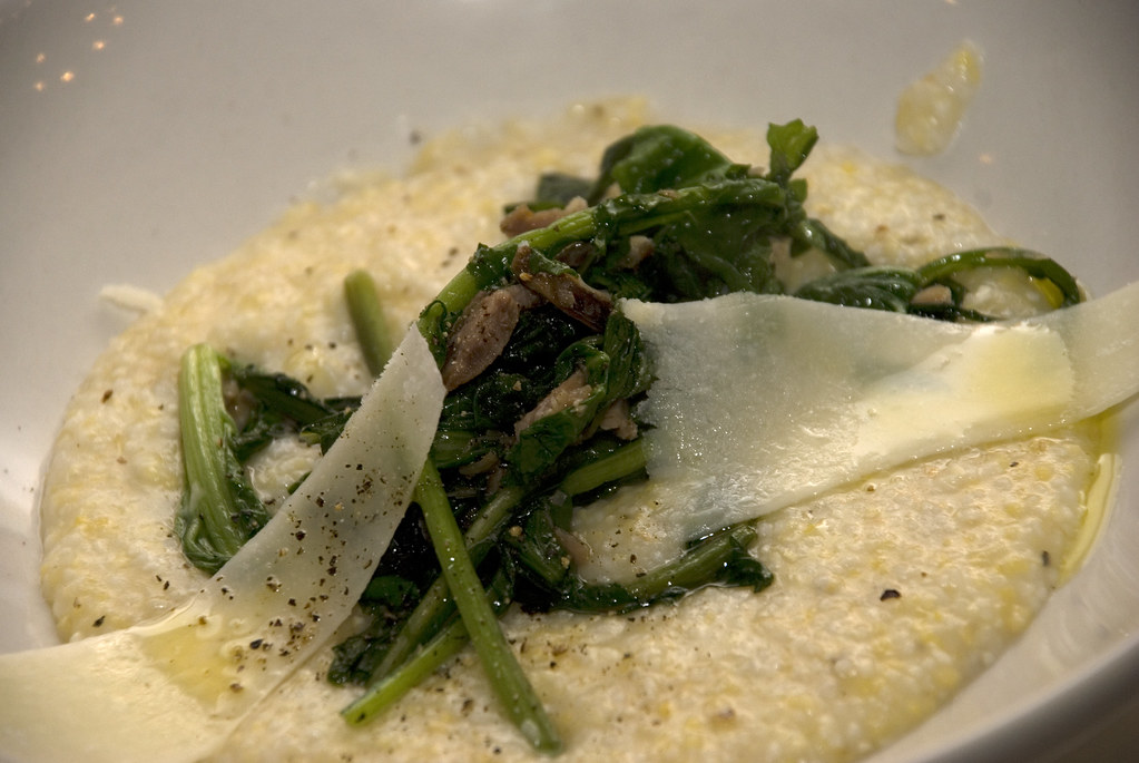 grits with greens and pork hock and pecorino