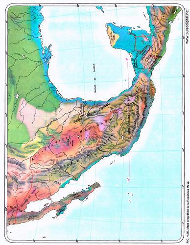 Mapa de la orografía de México a colores