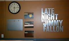 early morning with Jimmy Fallon (underwhelmer) Tags: show clock sign studio latenight jimmyfallon