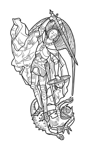 archangel michael tattoo. St. Michael Tattoo Linework