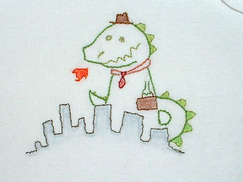 embroidered onesies coloured godzilla