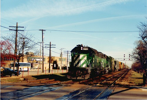 Westbound Burlington Northern freight train passing through west suburban La Grange Illinois. December 1988. by Eddie from Chicago