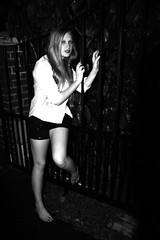 creaking gates (lakennlinnea) Tags: white black sexy gate annika shorts sequin creaking