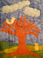 April Journal Quilt without Border (Pictures by Ann) Tags: flowers blue sky brown white tree rabbit bunny green bird texture grass yellow clouds easter miniature beads pom oak soft quilt embroidery sewing small journal tan sew swing textures fabric cotton pasture swap tiny quilting flannel april quilted lime 80 applique beading sewn beadwork pompom tactile 80thbirthday treeswing journalquilt sensory handembroidery swapbot embroideredbyhand