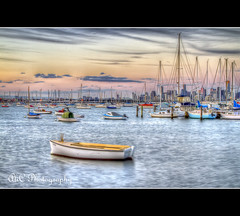 The Marina (AliCPhotography) Tags: city longexposure light sunset sea sky sun reflection abandoned beach water night clouds marina buildings relax boats pier view skyscrapers metro horizon melbourne calm williamstown simplicity serene poles colourful tranquil hdr melbournehdr hdrwork