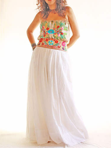 Mexican vintage style wedding maxi dress