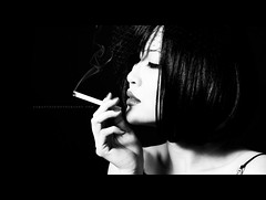noir... (sam_samantha) Tags: woman selfportrait asian cinematic myfave ratio cigarettesmoke filmnoirinspired 50mmf12 pocketwizardplusii canon580exii birdcageveil canon5dmkii
