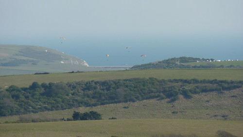 Paragliders in the distance