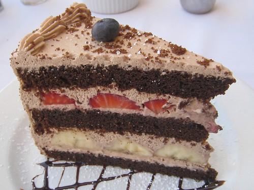 Strawberry banana creme chocolate cake at Barney Greengrass.