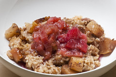 Breakfast Risotto with Rhubarb Compote