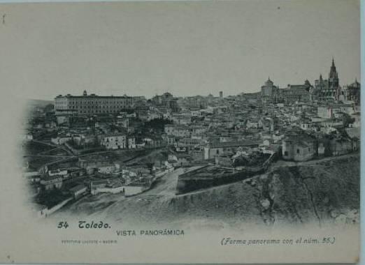 Vista General de Toledo desde el sureste hacia 1900. Foto Lacoste