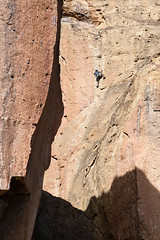 smith rock climbing (scovophoto) Tags: cliff rock oregon extreme mountainclimbing smith rope adventure climbing achievement strength extremesports rockclimbing success challenge highup smithrock anxiety steep courage determination exercising climbingequipment