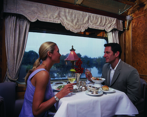Eastern & Oriental Express - Couple dining in Restaurant Car