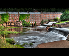 Industrial History (JLMphoto) Tags: brick mill industry water race buildings waterfall industrial alabama historic whirlpool hdr spillway prattville jlmphoto