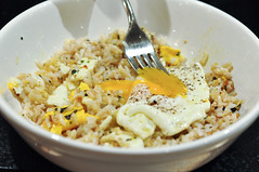 Brown rice with fried farm egg and furikake