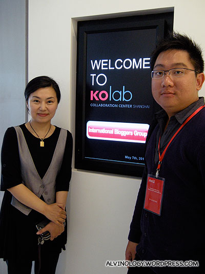 Me with a friendly Coca-Cola staff at the koLab
