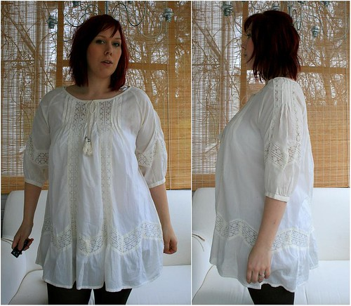 Ugly baggy lace tunic before the extreme makeover