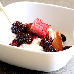Baked Rhubarb with Blackberries and Vanilla