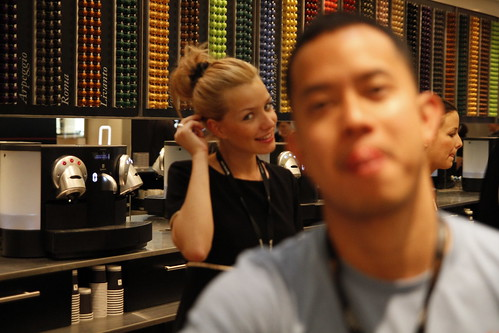 The Nespresso girl takes away the focus
