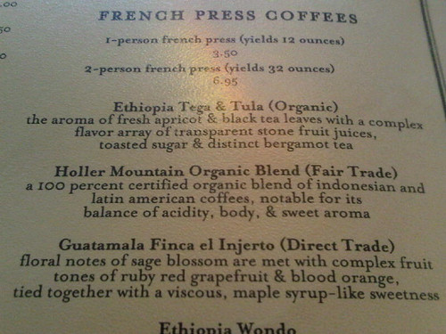 Menú de café en Mother's en Portland