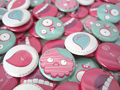 Cookies, Monsters & Balloons ! (Dolly Oblong) Tags: pink cute cookies balloons buttons mint funky pins kawaii monsters badges dolly dollyoblong