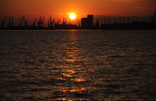 Thessaloniki harbour at sunset