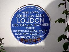 Photo of John Loudon and Jane Loudon blue plaque