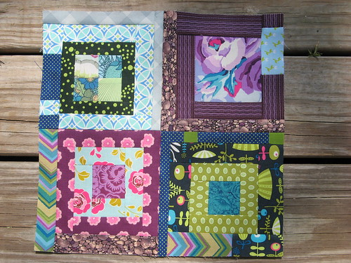 Bee Modern June - Four mini log cabin variations