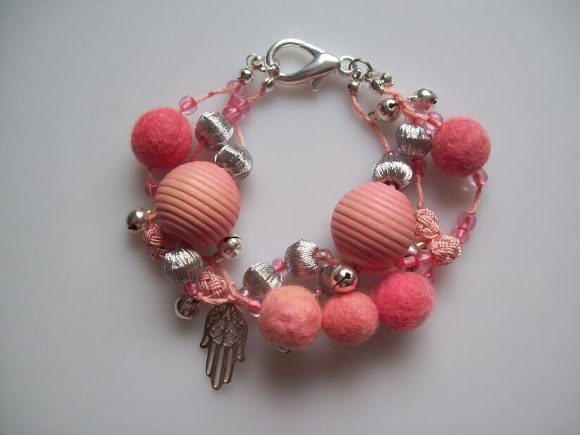 peach and silver beaded charm bracelet
