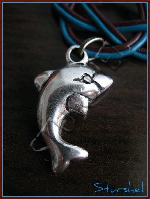 Detalle Delfin Collar Cuero Turquesa&Choco