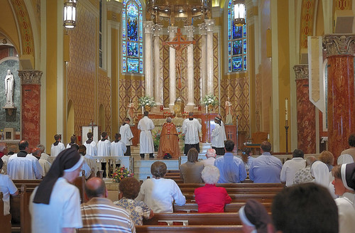 Saint Ambrose Roman Catholic Church, in Saint Louis, Missouri, USA - Corpus Christi Procession - interior of church
