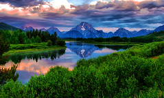 Stormy Mornings in Jackson Hole (Jeff Clow) Tags: morning reflection nature weather clouds river landscape bravo snakeriver wyoming mountmoran tetons storms