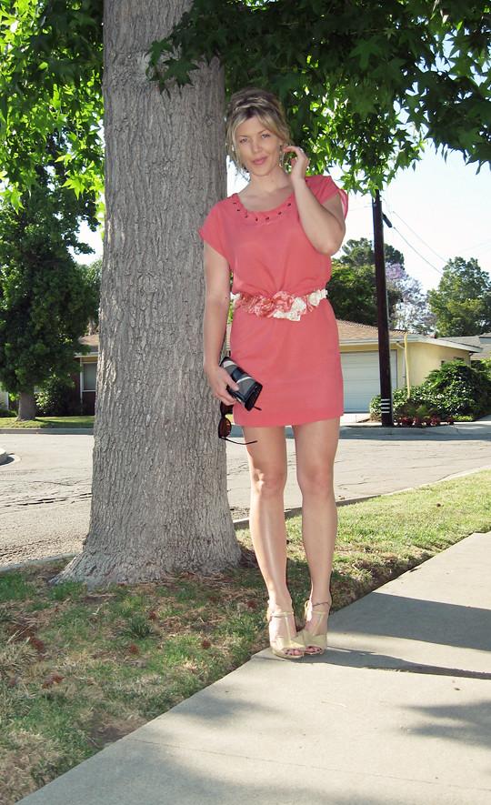 leyendecker dress+rose DIY necklace as belt+braids in hair-3-1