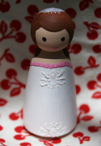 bride peg person - 'embroidered' details with glitter paint accent to simulate rhinestones