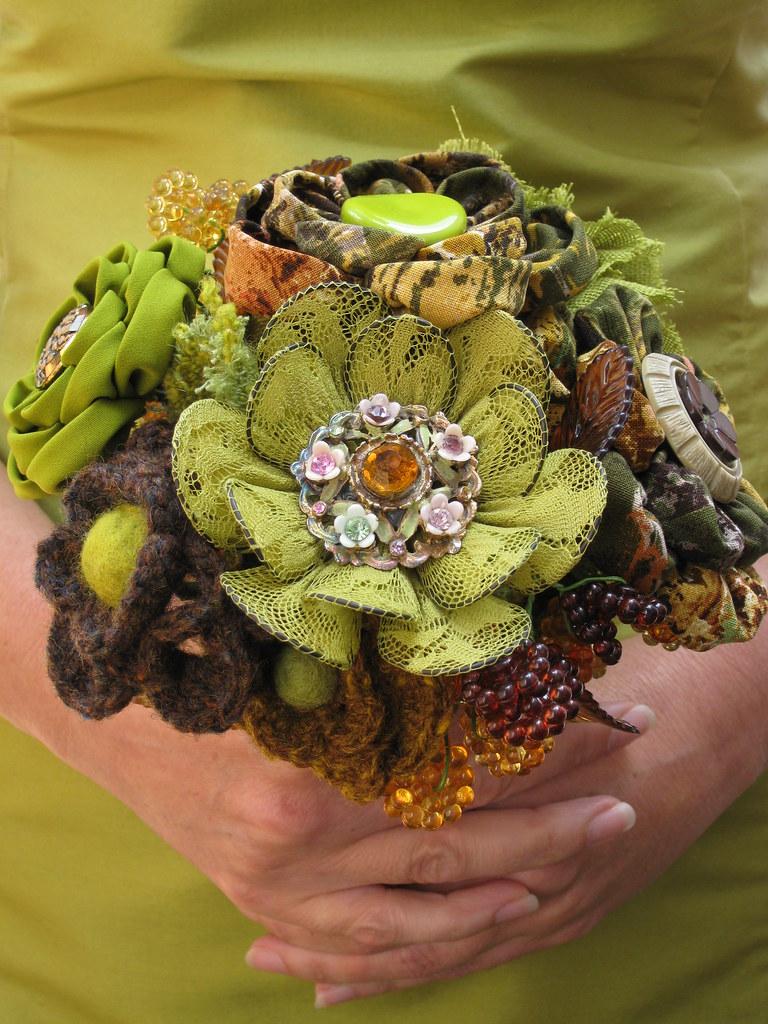 Vintage Textile Wedding Bouquet
